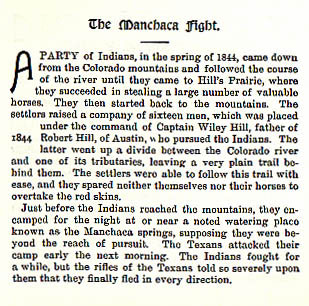 The Manchaca Fight story from the book Indian Depredations in Texas by J. W. Wilbarger