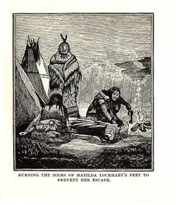 Matilda Lockhart burning feet picture from the book Indian Depredations in Texas by J. W. Wilbarger