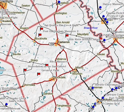 Milam County Texas Map