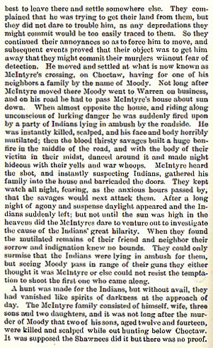 Murder of Moody, McIntyre's two Sons and Sewell story from the book Indian Depredations in Texas by J. W. Wilbarger
