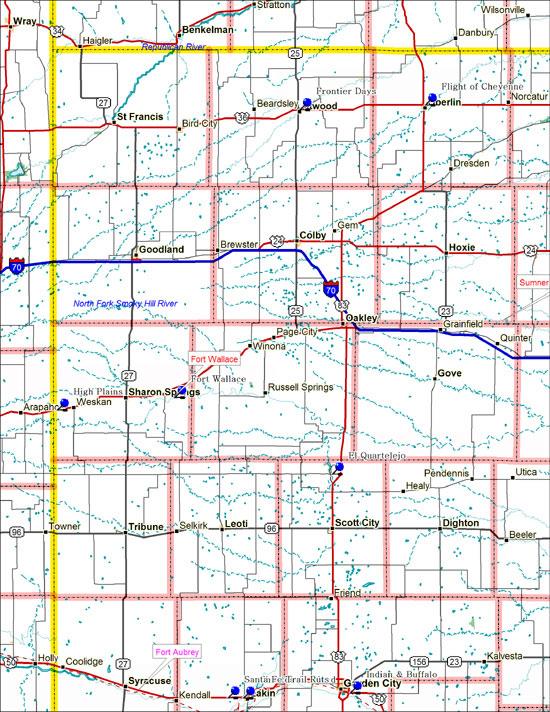 Map of Northwest Kansas Historical Markers