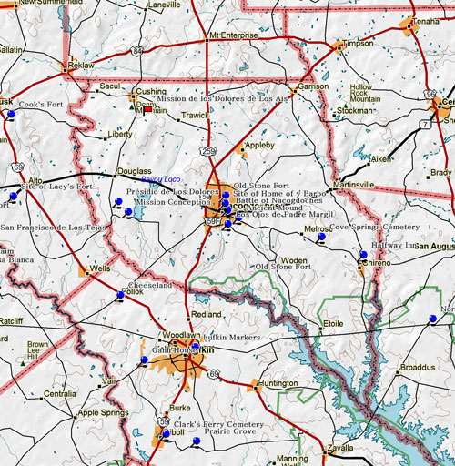 Map of Nacogdoches County Historic Sites