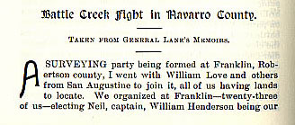 Battle Creek Fight in Navarro County