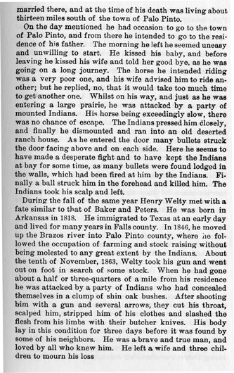 Murders in Palo Pinto County story from the book Indian Depredations in Texas by J. W. Wilbarger