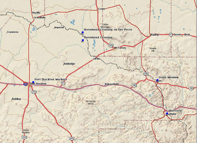 Map of Pecos County Historical Markers