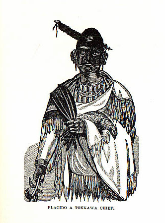 Placido A Tonkawa Chief picture from the book Indian Depredations in Texas by J. W. Wilbarger