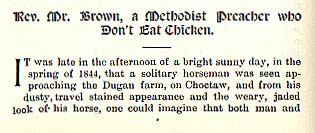 Rev. Mr. Brown, a Methodist Preacher who Don't Eat Chicken