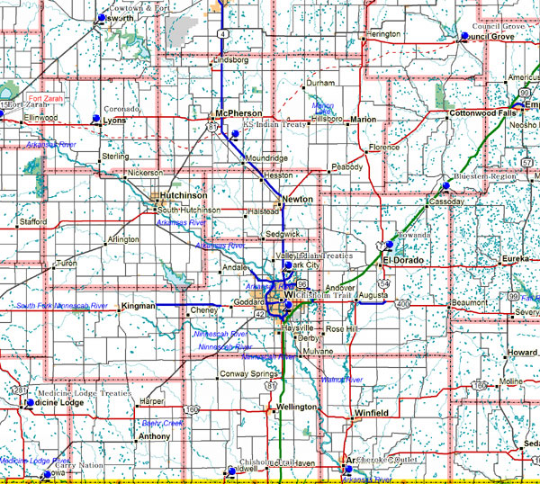 Map of South Central Kansas Historical Markers