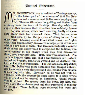 Samuel Robertson story from the book Indian Depredations in Texas by J. W. Wilbarger