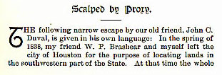 Scalped by Proxy story from the book Indian Depredations in Texas by J. W. Wilbarger