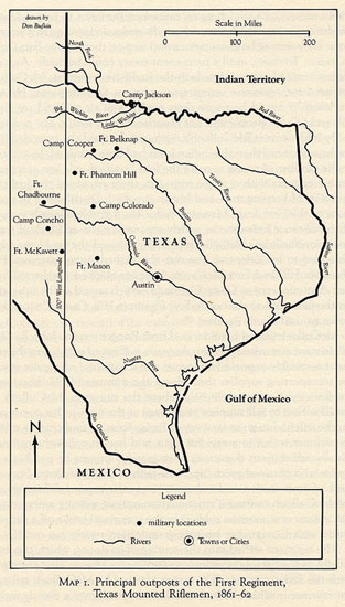 Principal Outposts of the First Regiment, Texas Mounted Riflemen, 1861-82