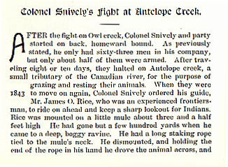 Colonel Snively's Fight at Antelope Creek