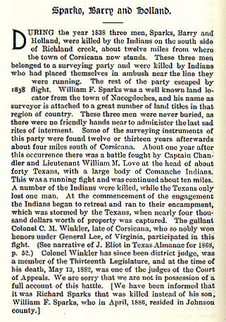 Sparks, Barry and Holland story from the book Indian Depredations in Texas by J. W. Wilbarger