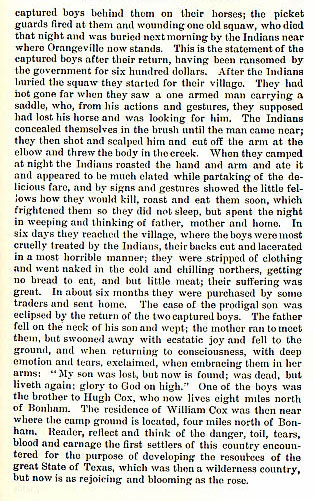 Two Boys Captured story from the book Indian Depredations in Texas by J. W. Wilbarger