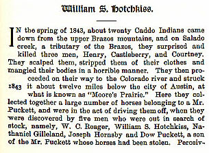 William S. Hotchkiss story from the book Indian Depredations in Texas by J. W. Wilbarger