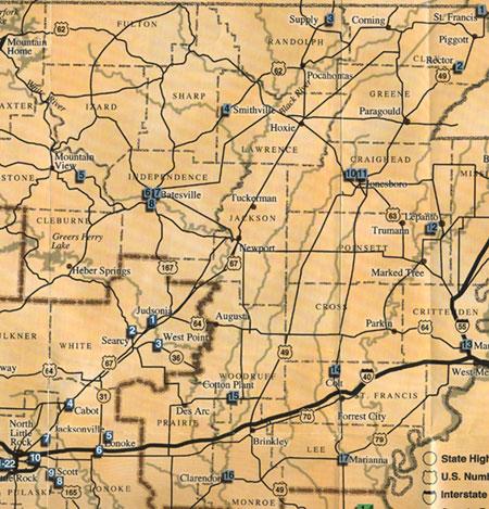 map of northeast arkansas Fort Tours Northeast Arkansas Heritage Trail Map map of northeast arkansas