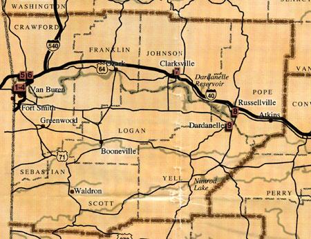West Central Arkansas Map
