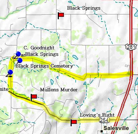 Map of Black Springs Road Trip
