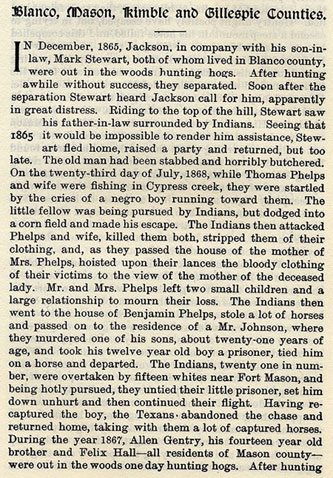 Blanco, Mason, Kimble and Gillespie Counties story from the book Indian Depredations in Texas by J. W. Wilbarger