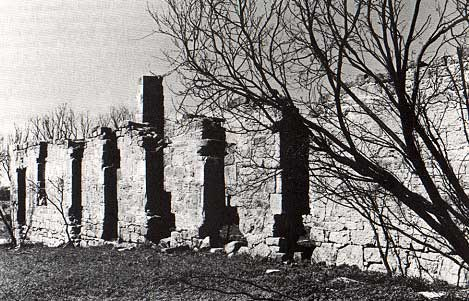 Photo of Fort Chadbourne's Ruined Barracks taken by Charles M. Robinson, III from the book, Frontier Forts of Texas