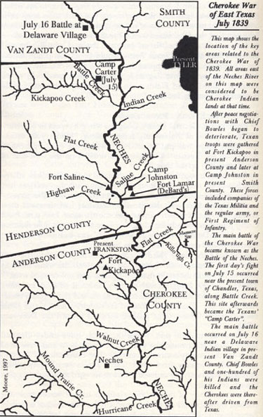 Map of the Cherokee War in East Texas