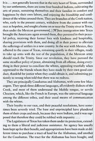 Thomas L. White's first-hand account of 1860 Alabama-Coushatta Community