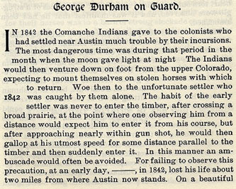 George Durham on Guard story from the book Indian Depredations in Texas by J. W. Wilbarger
