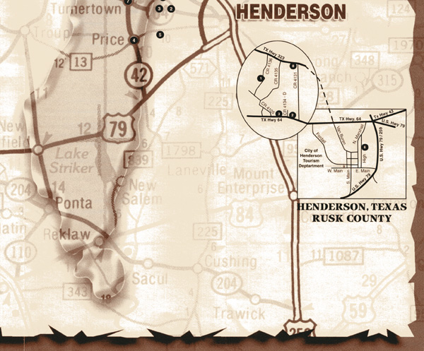 Map of Gladewater, Henderson, Rusk, Kilgore, Longview