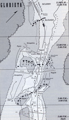 Map of Glorieta Battleground from the book, Blood & Treasure by Donald S. Frazier
