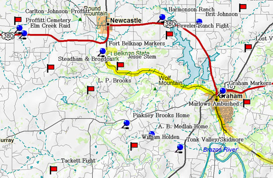Map of Road Trip from Graham to Fort Belknap