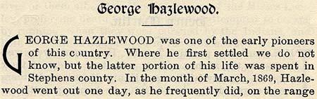 Hazlewood story by Wilbarger