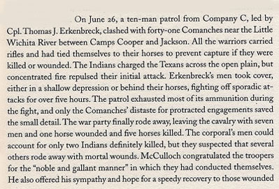 Cpl. Thomas J. Erkenbreck fights Comanches near Little Wichita River, June 26, 1861