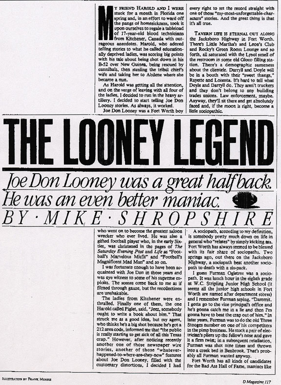 Joe Don Looney Article by Mike Shropshire, Page One