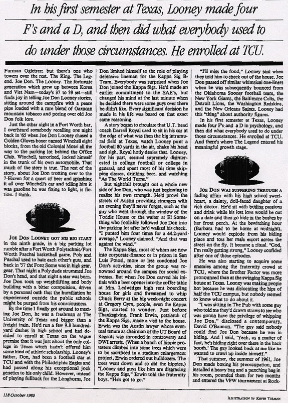 Joe Don Looney Article by Mike Shropshire, Page Two
