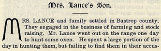 Mrs. Lance's Son story from the book Indian Depredations in Texas by J. W. Wilbarger