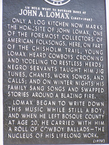 Picture of John Lomax Historical Marker