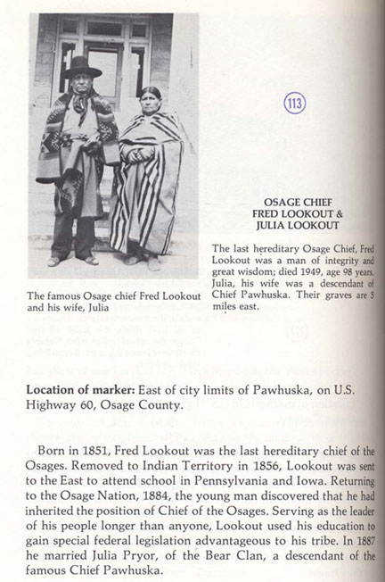 Osage Chief Fred Lookout & Julia Lookout Picture
