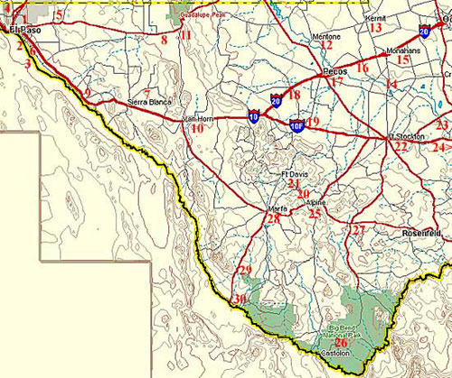 Map of Big Bend