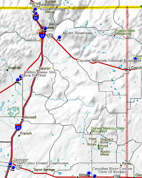 Northcentral Part of Northeastern New Mexico Map