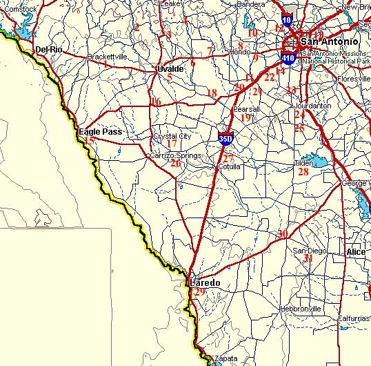 Fort Tours South Texas - Map of southern texas