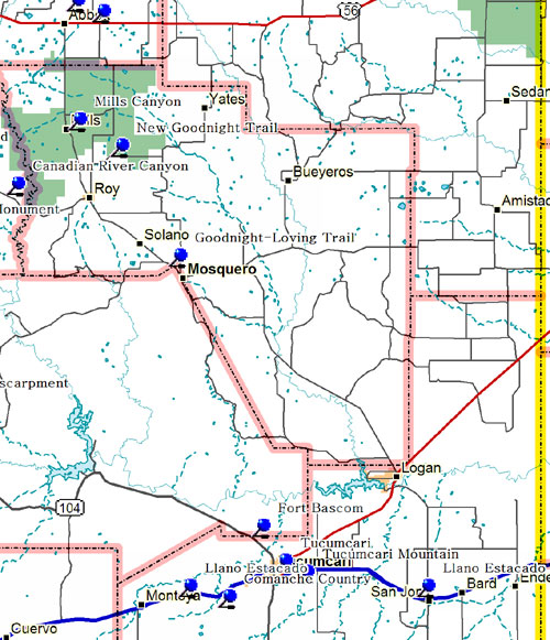 Southeast Part of Northeastern New Mexico Map