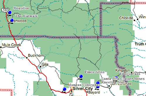 Northwest Part of Southwestern New Mexico Map
