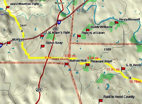 Ward Mountain to Granbury Map
