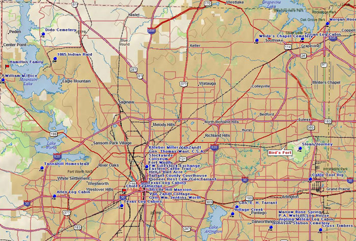 Map of Tarrant County Historic Sites