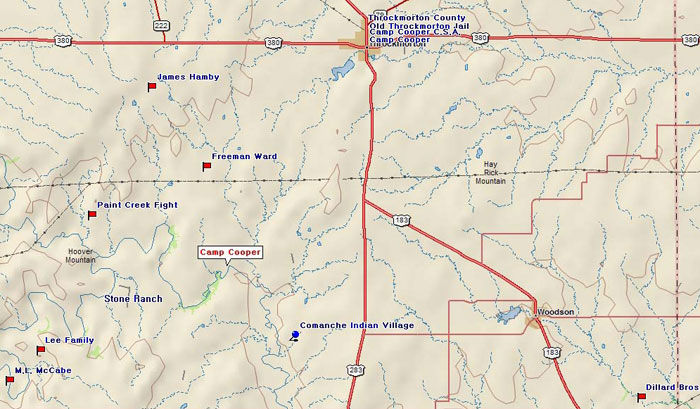 Map of Throckmorton County Historical Interests