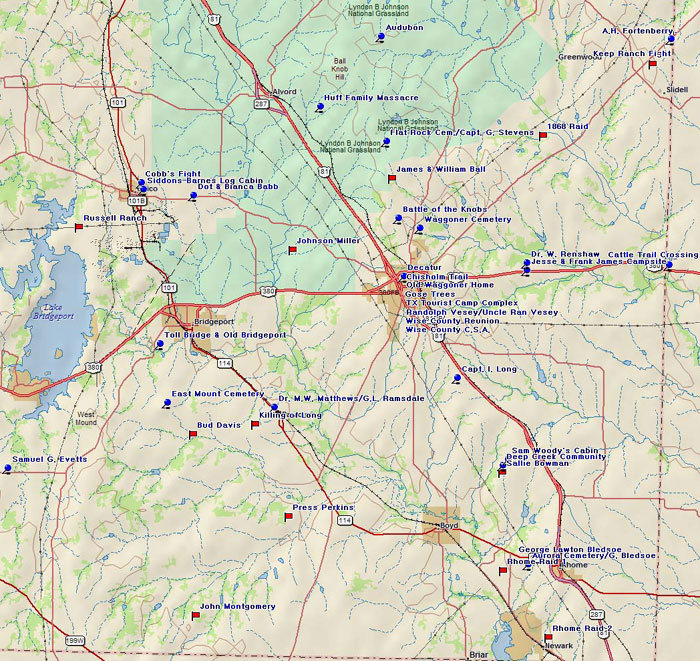 Map of Wise County Historical Sites