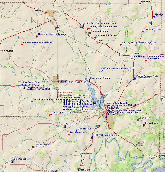 Map of Young County Historic Sites