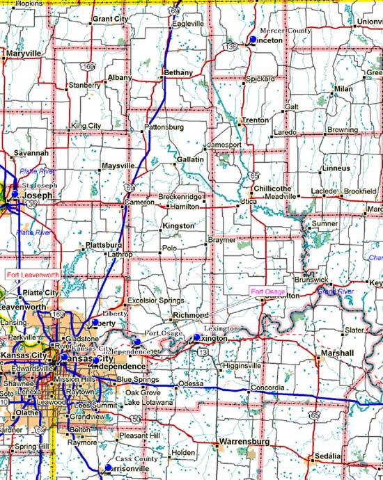 Map of Northwest Missouri Historical Markers