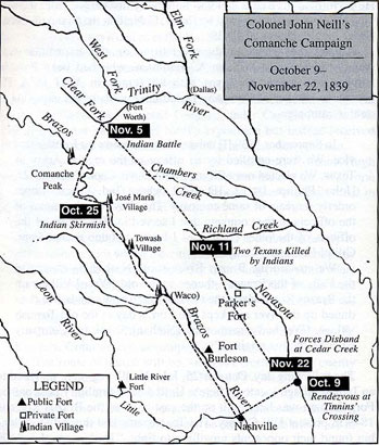 Map of Colonel John Neill's Comanche Campaign
