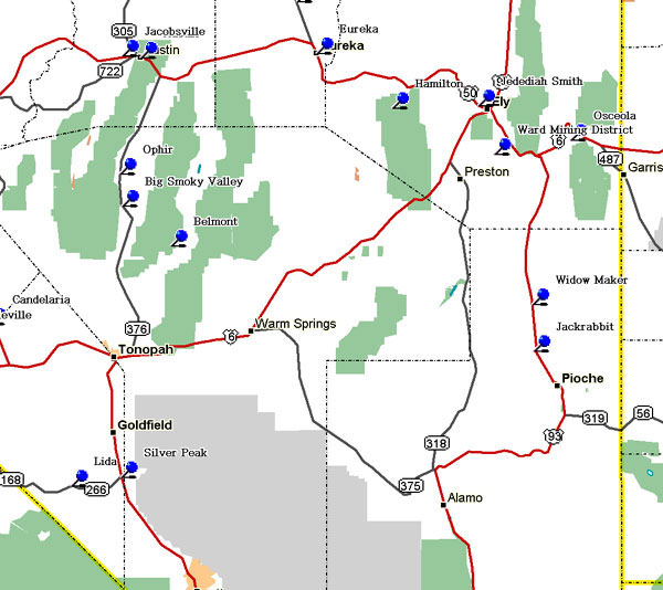 Map of Southeast Nevada Historical Markers